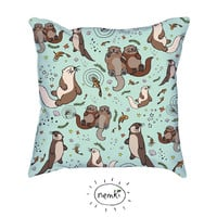 Sea Otters Illustrated Throw Pillow, Cushion Cover
