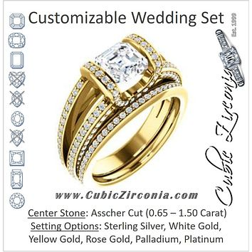 CZ Wedding Set, featuring The Scarlett engagement ring (Asscher Cut with Prong-Accented Bar Basket and Split Pavé Band)