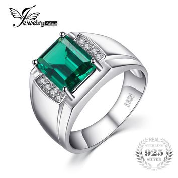 Jewelrypalace Men Luxury 2.7ct Created Emerald Anniversary Wedding Ring Genuine 925 Sterling Sliver Jewelry