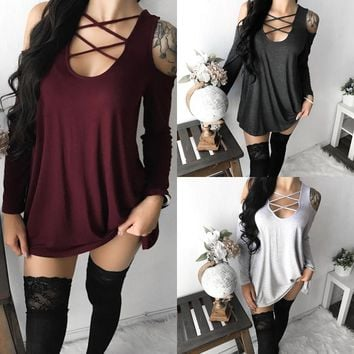 Women'S Solid Color V-Neck Long-Sleeved Strapless T-Shirt