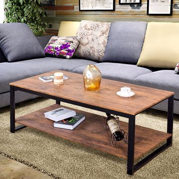 Wood Metal Frame Accent Coffee Table