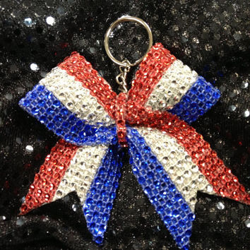 1red silver blue stripe Rhinestone Bling Keychain Holders Bow Ribbon Cheer Dance