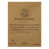 Golden Five-Pointed Star Card Alloy Clavicle Pendant Necklace  171208