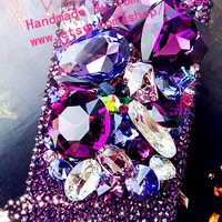 Luxuries 3D purple rhinestone iphone 5s case iphone 5c case iphone 5 case iphone 4 4s samsung galaxy s4 case s2 s3 mini note 2 3 Blackberry
