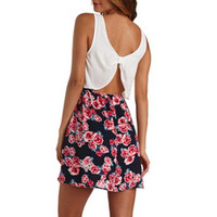 BOW-BACK FLORAL PRINT FLOUNCE DRESS