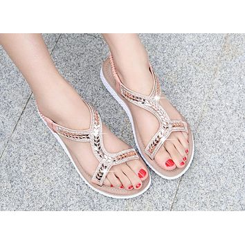 Hot Selling Fashion New Style Retro Water Diamond Large Size Women's Shoes Pink
