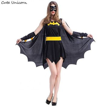 Batman Dark Knight gift Christmas Superhero Batman Halloween Costumes for women party Cosplay Costume batgirl dress with cloak girls clothes sexy outfit AT_71_6