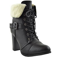 Womens Fleece Cuff High Heel Ankle Boots Black