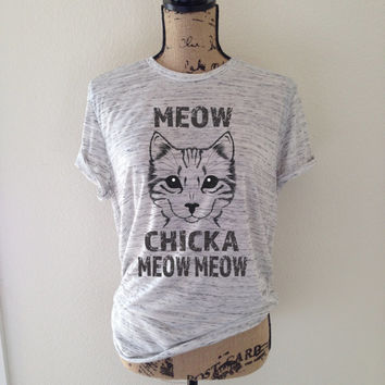 meow chicka meow meow, cat, cat shirt, tank top, cat lover, kitten shirt, meow shirt, kitty shirt, cat tee, gift for cat lover, cat
