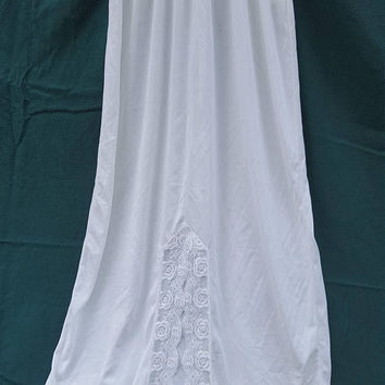 "Vintage JC Penney White Half Slip with Lace trim, Soft 100% Nylon ~Women's Size Small - Medium~ 39"" Long, Excellent, Modest Undergarment"