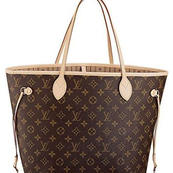 DCCKHI2 Louis Vuitton Neverfull MM Monogram Canvas Handbag Shoulder Bag Tote Purse H Tagre-