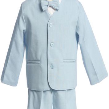 Light Blue Eton Jacket & Shorts Outfit 4 Pc Suit (Baby or Toddler Boys 6 months - 4T)