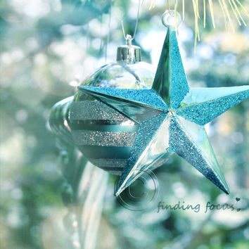Aqua Turquoise Christmas Star Photo, Retro Xmas Vintage Holiday Tree Ornaments Dreamy Blue Glittery Winter Bokeh 8x10 Shabby Art Photograph