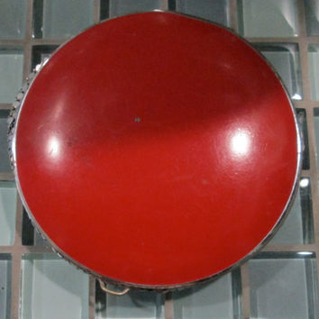 Art Deco Red Enamel Silver Mesh Compact / 40s Gorgeous Compact / Venus Compact