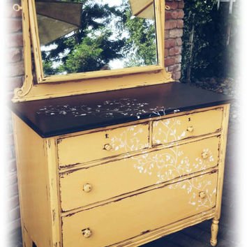 Chippy dresser with mirror, Distressed dresser, Antique dresser, shabby chic dresser,  yellow dresser, yellow dresser and mirror, dresser