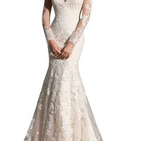 MiLano Bride Grace Illusion Neck Long Sleeves Mermaid Floral Wedding Dresses