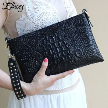 2016 New Famous Ladies Evening Bags Women Crocodile Pattern Leather Bag Minaudiere Evening Bag Clutch Shoulder Evening Handbags