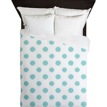 Duvet Cover - Tiffany Blue and White Ikat Polka Dots Duvet Cover - Glamour Decor - Fashion Decor - Dorm Decor - Teen Room Decor - Girls Room
