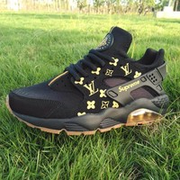 Best Online Sale LV x Supreme x Nike Air Huarache Black Luminous Sport Running Shoes