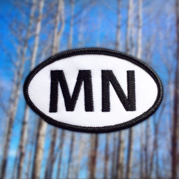 "Minnesota MN Patch - Iron or Sew On - 2"" x 3.5"" - Embroidered Oval Appliqué - North Star State - Black White Hat Bag Accessory Handmade USA"