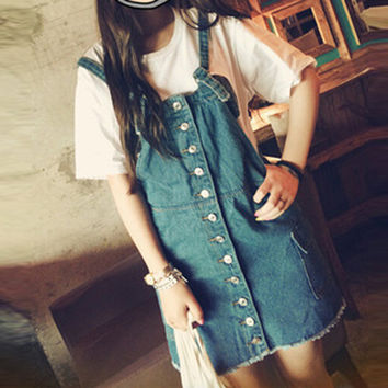 New Fashion 2015 Summer And Spring Women Denim Dress Loose Denim Strap Dress Wild Preppy Casual Washed Cute Dresses Big Size