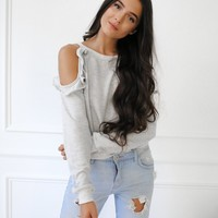 Everyday Ruffle Cold Shoulder Sweater