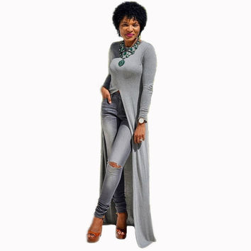 2016 Autumn Grey Long Sleeve Asymmetrical Dress Side Slit Cut Out African Style Casual Loose Maxi Dresses Vestidos Longo