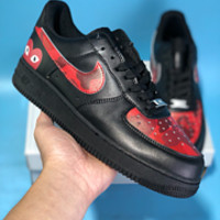DCCK N586 Nike Air Force 1 AF1 Fashion Casual Low Skate Shoes Black Red