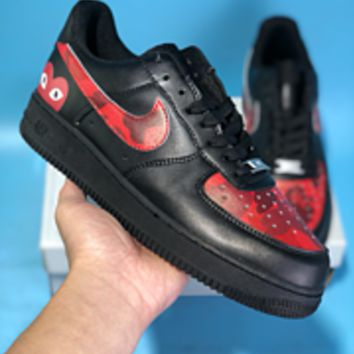 KUYOU N586 Nike Air Force 1 AF1 Fashion Casual Low Skate Shoes Black Red