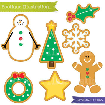 Christmas Cookies Clipart Set. Xmas Cookies Digital Clipart for Instant Download. Personal and Commercial* Use. Png, Jpeg, Eps Included