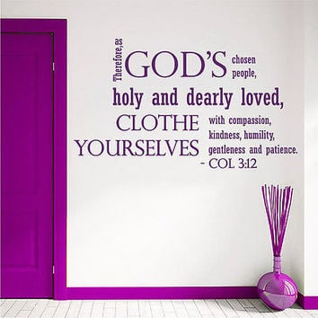 Wall Decal Bible Verses Psalms Colossians 3:12 Therefore As Vinyl Sticker DA3635