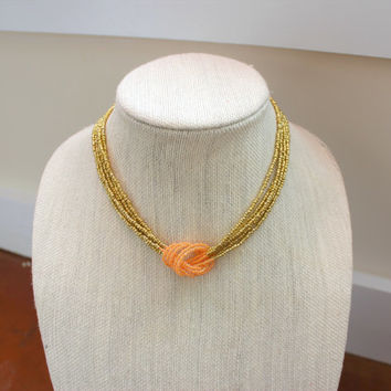 Gold and Peach Seed Bead Necklace. Knotted Necklace.  Statement Necklace.  Short Necklace. Multistrand Necklace. Gift for her.