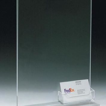 8.5 x 11 Acrylic Sign Holder with Pocket for Business Cards, T-style - Clear 19054