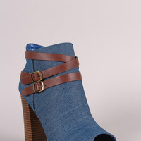 Bamboo Denim Buckled Strap Chunky Heeled Booties