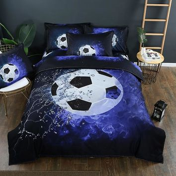 2/3pc Bed Quilt Cover Clothes Pillowcase Adult Kids Bedroom Decor 3D Football Basketball Duvet Cover Bedding Set Twin Queen Size