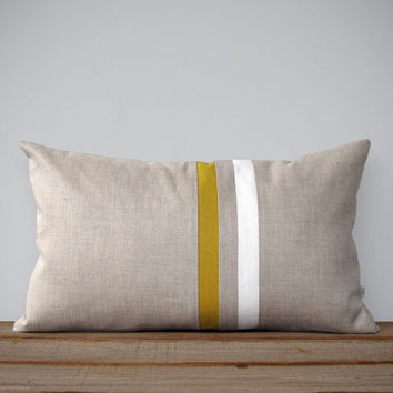 Mustard Yellow and Cream Striped Pillow - 12x20 - Modern Home Decor by JillianReneDecor - Colorful Colorblock Stripes (More Colors) - Slate