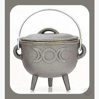 Triple Moon Cast Iron Cauldron with Lid