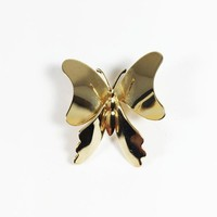 Modern Butterfly Pin Vintage 1980s 1990s Minimalist Shiny Gold Tone Butterfly Small Lapel Pin Hat Flair Gift for Her Collectible Figural