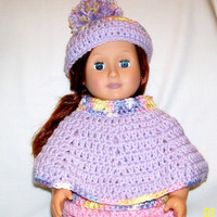 Poncho and Hat, 18 inch Doll, Crochet Doll Clothes, Handmade, Doll Poncho, Doll Hat, Doll Accessories, Doll Clothing, Girl Doll,  American
