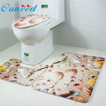 Ouneed Bathroom Non-Slip Blue Ocean Style Pedestal Rug + Lid Toilet Cover + Bath Mat U70228 DROP SHIP