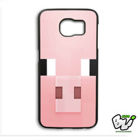 Minecraft Pig Pink Head Samsung Galaxy S6 Edge Plus Case