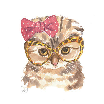 Kitten Watercolor Original Painting, Scottish Fold Cat, Cat Illustration, Retro Glasses, 8x10 Original