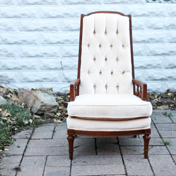 Vintage Cream Velvet Wingback Chair