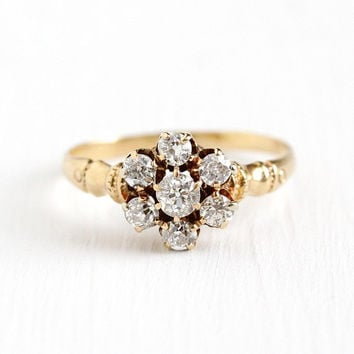Diamond Cluster Ring - Antique Victorian 14k Yellow Gold .63 CTW Size 6 1/4 - Vintage Engagement 1800s Bridal Wedding Jewelry w/ Appraisal