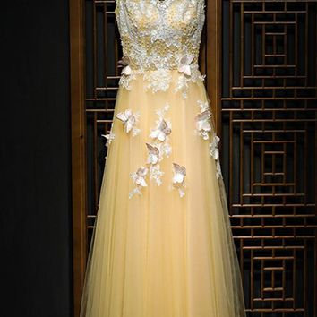 Charming Flowy Long Tulle V Neck Prom Dress With Lace Butterflies OK989