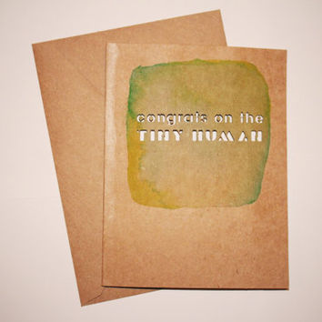 """Congrats on the Tiny Human // Watercolor & Lasercut Card // Baby Shower Card - Pregnancy - Expecting - Funny Card // Large 5"""" x 6.5"""""""