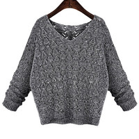 Casual Long Sleeve V-Neck Knitted Sweater