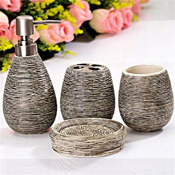 Creative Home 4 Piece Ceramic Bathroom Toiletries Spa Set