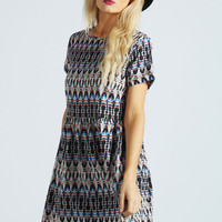 Izzy Smudge Print Turn Back Dress