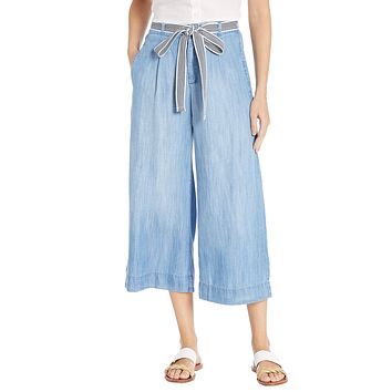 Bella Dahl Stripe Trim Belt Crop Pants Silverlake
